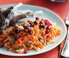 Kamut Salad with Carrots and Pomegranate  Recipe  | Epicurious.com food recip, kamut salad, healthi, carrots, yummi, pomegranate recipes, pomegran recip, salads, pomegranates