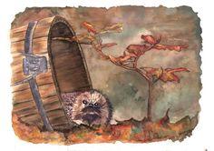 Soraya Pamplona - Print Aquarela Ouriço pigmeu no outono