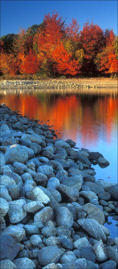 """Blue Rocks on Fire"", Quabbin Reservoir, Massachusetts"