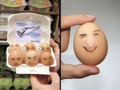 Wilkinson Quattro Titanium placed transparent stickers of masculine faces on the eggs and put an advertising flyer with a promotion on the back in every box.