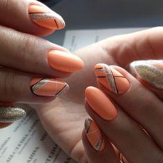 Coral manicure - fashion news and trends 2019 - Nagellack Ideen Short Nail Designs, Fall Nail Designs, Acrylic Nail Designs, Acrylic Nails, Coral Nail Designs, Coral Nails With Design, Nails Design, Elegant Nails, Stylish Nails