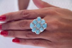 Larimar Ring, Sea Princess, Handcrafted Larimar Jewelry, Check Available Sizes by TheLarimarShop on Etsy