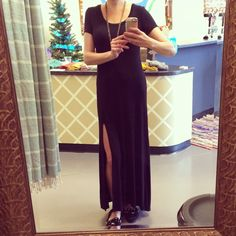 Best deal Black Slit dress on SALE for $30! http://www.blue-bohemian.com/collections/dress-clearance/products/slit-maxi-dress