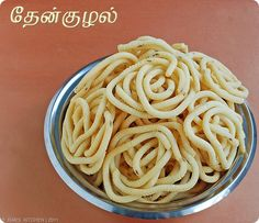 Thenkuzhal murukku recipe - with rice flour and urad dal flour as main ingredients. Authentic recipe made for Diwali in South Indian homes