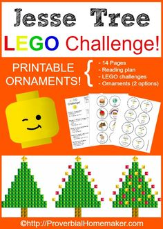 Jesse Tree LEGO Challenge! Printable reading plan, LEGO challenges, and ornaments for a fun Christmas advent tradition, ProverbialHomemaker.com