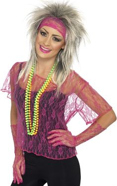 Buy costumes online like the Neon Pink Lace Net Vest Adult Costume Set from Australia's leading costume shop. Disco Fancy Dress, 1980s Fancy Dress, 80s Womens Fashion, 1980s Fashion Trends, Vintage Fashion, Retro Fashion, Style Fashion, Fashion Ideas, Fashion Outfits