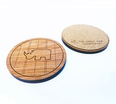 Set of 4 rhino coasters  wooden cherry coasters by thejunglehook