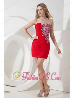 Red Column / Sheath Strapless Beading Short Prom Dress Mini-length Chiffon- $104.26  www.fashionos.com   miss intercontinental pageant pageant dress | blanca cristina aljibes gallardo pageant suit | ready to ship | where to find short prom dress | customer made short prom dress | 2013 homecoming short prom dress |