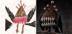 Ces artistes revisitent à leur manière les dessins de monstres des enfants