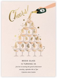 Warm and festive holiday party invitations for every occasion available online and on paper. New Years Eve Invitations, 30th Birthday Invitations, Holiday Party Invitations, Online Invitations, 21st Birthday, Birthday Ideas, Champagne Birthday, Champagne Party, Invitation Card Design
