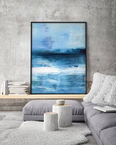 This is a limited edition fine art giclee PRINT. Acrylic Abstract Minimalist Painting, Print Giclee of Original Wall Art, Dark Blue Seascape, Navy Wall Decor, Landscape by Eveline Patrzalek Important information regarding all prints: 1. The prices can be found over on the right in the