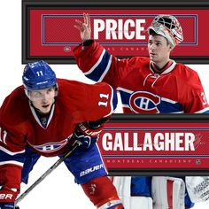 Canadiens Dynamic Duo - Price & Gallagher • get your framed signature Jersey Name Print from NHLTrunk.com Of Montreal, Montreal Canadiens, Baseball Cards, Sports, Backgrounds, Hs Sports, Excercise, Sport, Exercise