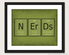 Periodic Table Word Poster  Nerds  Wall Art Print by GetYourNerdOn, $20.00