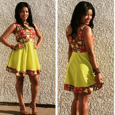 Add this African Ankara print mini dress with a modern touch to your collection! Perfect dress for spring and all the summer weddings. Dress has 2 side pockets *Our dresses run small, the table below