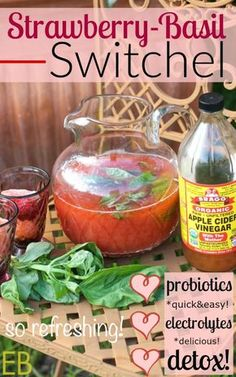 Strawberry Basil Switchel -- Switchel is a fermented, thirst-quenching beverage– that's actually fast and easy and …rewarding and …encouraging to make!