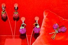 JAR strawberry pendant earrings, raspberry pendant earrings, raspberry brooch.