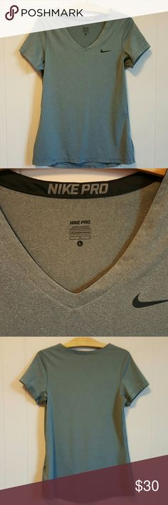 NWOT! Nike Pro Dry-Fit Workout Tee Charcoal Grey, with black Nike check. Pristine condition! Nike Tops