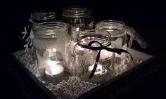Zelf gemaakt! Verzamel hak potten, doe er lintje, spuitsneeuw,  glitters en kant om heen. En je hebt een leuke kerst decoratie voor op tafel of op de kast.