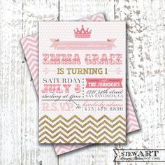 1st birthday party invites chosen and ordered! Custom Personalized BIRTHDAY PARTY INVITATION Digital Design - Princess