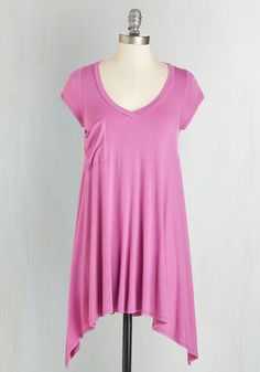 A Crush on Casual Tunic in Orchid - Pink, Solid, Handkerchief, Pockets, Casual, Pastel, Short Sleeves, Spring, Best Seller, Variation, Basic, V Neck, Pink, Short Sleeve, Boho, Knit, Long