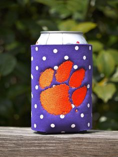 Purple U0026 White Polka Dots Koozie With Orange Clemson Tigers Paw