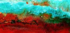 Horizontal Panoramic Abstract Art - Burning Meadows By Kredart Painting