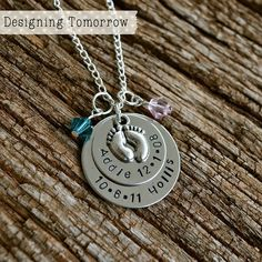 Personalized Metal Stamped Necklace with Baby Feet Charm and Two Names & Birthdays - STAINLESS STEEL PENDANT