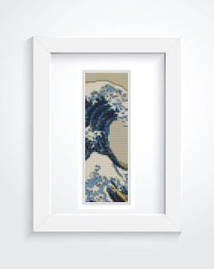 Bookmark Cross Stitch KIT, Printed CHART Great Wave off Kanagawa by Katsushika…