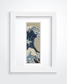 Bookmark Cross Stitch KIT, Printed CHART Great Wave off Kanagawa by Katsushika…