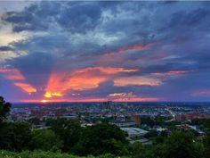Sunset over Birmingham.  Alabama  5/21/15.. Photographer credit; @objectivityrach.