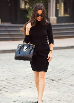 Jamie Beck's camera bag is as chic as they come! The Black Soft Ricky, pictured here during New York Fashion Week.