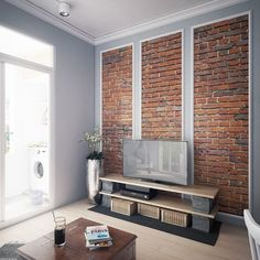 Jazz up a small space on a budget with these four inspiring Scandinavian looks. Try exposed brick, grey kitchens, light wooden shelving and benches for size. Grey Wooden Floor, Light Wooden Floor, Console Tv, Scandinavian Style, Home Decor Bedroom, Home Living Room, First Home Owners, Black Feature Wall, Bedrooms