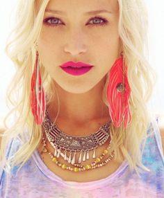Boho Punk, Pink Boho, Bohemian, Gypsy, Hippie, Jewellery, Aztec, Tribal, Style, fashion, look, festival,