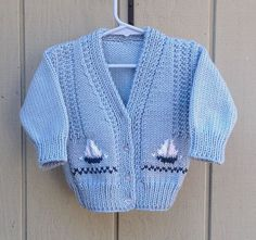 Toddler Sailboat cardigan - 12 to 24 months - Toddler hand knit sweater - Kids blue cardigan . Toddler Sailboat cardigan - 12 to 24 months - Toddler hand knit sweater - Kids blue cardigan with sailboats - Baby boy c. Baby Boy Cardigan, Blue Cardigan, Knit Cardigan, Jumper, Knitting For Kids, Hand Knitting, Baby Barn, Hand Knitted Sweaters, Toddler Outfits