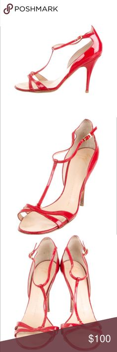 """GIUSEPPE ZANOTTI RED PATENT LEATHER T-STRAP HEELS Red patent leather Giuseppe Zanotti sandals with gold-tone hardware, tonal stitching throughout, covered heels and T-strap at front featuring buckle closure at ankles. Color: Red Shoe Size: 8.5 Designer Fit: This designer runs a half size small. Condition: Good. Moderate wear at soles. Scuffs and wear from use.  Measurements: Heels 4.25"""" Designer: Giuseppe Zanotti Giuseppe Zanotti Shoes Heels"""