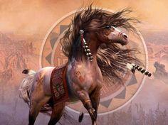 Native American Horse Drawings   via Native American Art