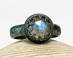 Oxidized Sterling Silver Labradorite Ring, Faceted Blue Labradorite, Renaissance Jewelry, custom sized by TazziesCustomJewelry on Etsy https://www.etsy.com/listing/209783180/oxidized-sterling-silver-labradorite