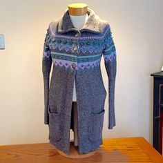 "Kensie grey sweater. Size Small Kensie grey sweater. Size Small. 15"" underarms 29"" long. 3 button closure at top. Lilac,purple, teal,light blue patten. 5x6 1/2"" pockets at sides.(♍️) Kensie Sweaters Cardigans"