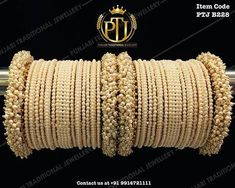 """Punjabi Traditional """"Gold Plated Pearl Bangles Set"""" Item Code - PTJ For price please inbox with Image or WhatsApp at this number Bridal Bangles, Gold Bangles, Silver Bracelets, Bridal Jewelry, Indian Bangles, Bangle Bracelets, Punjabi Traditional Jewellery, Dainty Jewelry, Silver Jewelry"""