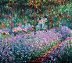 Impressionisme, Claude Monet, Blühende Iris in Monets Garten, kenmerken: Je ziet dat Monet veel vrolijke kleuren gebruikt in zijn schilderijen