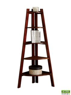 Furniture of America Bookcase Ladder Shelf Andrea 5 Tier Corner Shelves Cherry #FurnitureofAmerica
