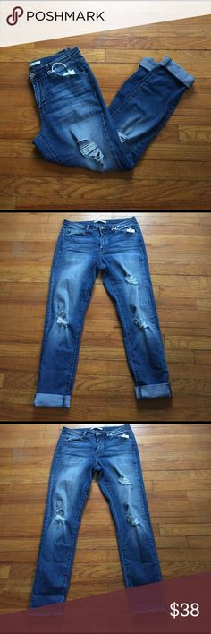 """NWT Distressed Denim 👖 NWT Distressed Denim jeans - super soft and stretchy - wear them cuffed up or uncuffed to show the cute frayed hem - waist laying flat is 15"""" (lots of stretch) - inseam approx 29"""" not folded up - size 29 boutique Jeans Skinny"""