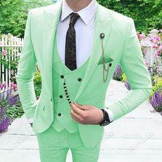 New Mens Suits, Dress Suits For Men, Grey Suit Men, Men Dress, Men's Suits, White Wedding Suit, Wedding Suits, Green Wedding, Designer Suits For Men