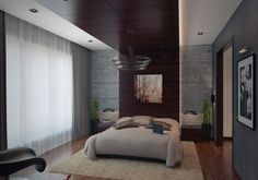 modern bedroom apartment with wooden brown line