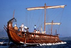The Olympias is a modern reconstruction of an ancient Greek trireme, the state-of-the-art warship in the classical period.