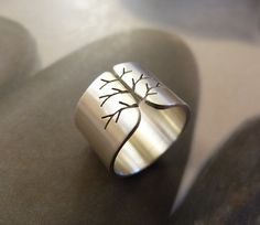 Silver tree ring autumn tree ring wide band ring by Mirma on Etsy