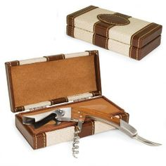 Elan Cabana Stainless Steel Waiter Style Corkscrew . $19.95. Dimensions: 6.5 x 2.5 x 1.5. The Élan - Cabana is a practical and stylish addition to your wine bar. It features a stainless steel waiter-style corkscrew with beautiful rosewood handle that sits in a classic woven straw (beige) and rich brown leatherette-covered box with tan velveteen interior lining. The Élan - Cabana makes a thoughtful gift for those who enjoy wine.Features:Stainless steel constructio...