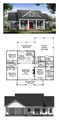 Country House Plan 59936 | Total Living Area: 1640 sq. ft., 3 bedrooms and 2 bathrooms. The master suite features a wonderful bathroom with large walk-in closet. The great room has gas logs as well as built-in cabinets and 10' ceilings that make it a great place to relax and spend time with family and friends. #houseplan #countryhome