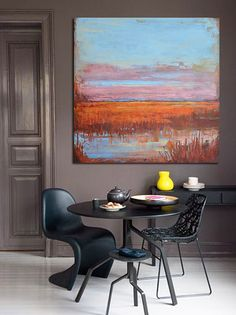 Large Abstract Landscape Oil Painting, Canvas Art. Handmade, blue, yellow, brown, orange, etc.