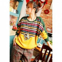$9.40 Women's Knitwear With Splicing Stripe Pattern and Color Block Design